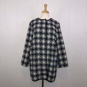 Old Navy Checkered Long Coat Wool Blend Navy Blue
